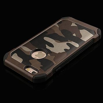 Brown Camo Army 2 Piece Protection Phone Case For iPhone 6 6s Plus 5 5s SE