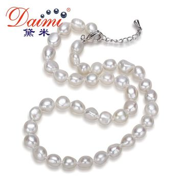Daimi Genuine Baroque Pearl Necklace, Trendy Necklace For Everyday, New Bijouterie Fine Jewelry 9-10 mm, Choker Necklace