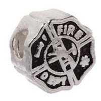 European Charm Metal Bead Fire Department Badge