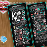Custom Wedding Program Rustic chic chalk board typographic style Creative classic Typography card clipart - printable file (w0011)