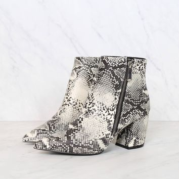 snake animal print heeled ankle booties - snake