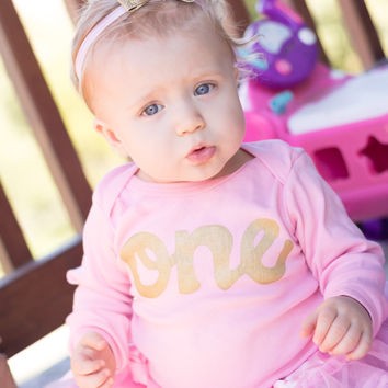 Posh Big Pink Fluffy pettiskirt tutu pink long sleeve gold glitter one Onesuit- girls 1st girls first birthday outfit