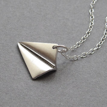 Paper plane necklace, rhodium plate, sterling silver chain, origami aeroplane pendant, modern minimalist jewelry
