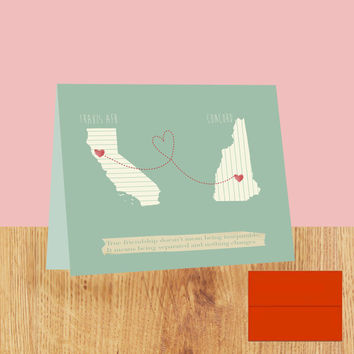 personalized long distance maps stationery - flat note cards - long distance  - friendship - relationship - gift -personalized map