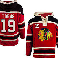 Old Time Hockey Chicago Blackhawks Jonathan Toews Sawyer Hooded Sweatshirt
