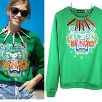 HOT SELLING 2013 NEW ARRIVAL FASHION TIGER HEAD embroidery Fleeces t-SHIRT Top