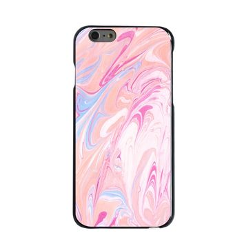 DistinctInk® Hard Plastic Snap-On Case for Apple iPhone - Pink Blue White Marble