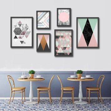 Nordic Style Unframed Posters And Prints Landscape Wall Art Vintage Geometric Canvas Painting Home Decoration Unframed S/M/L