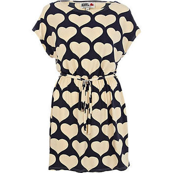 Cream Chelsea Girl heart print t-shirt dress