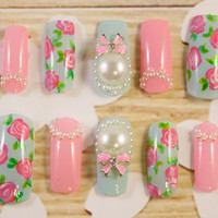 Sweet Pastel - This Is A Dream false/fake 3D nail Japanese lolita kawaii Hime gyaru 3D pearl