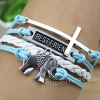 Light blue bracelets, bracelets, bracelets, cross BESTFRIEND elephants bracelet, wax rope girlfriend and BFF