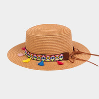 Rainbow Tassel Straw Sun Hat - Tan