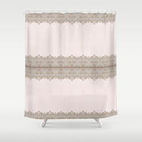 Damask Lace Pattern Shower Curtain by Nika In Wonderland