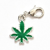 Pot Leaf Charm Pendant Silver Tone Zipper Pull NH25 Marijuana Weed Fashion Jewelry