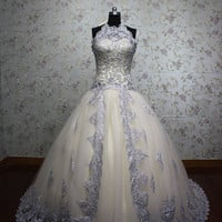 light champagne halter princess embroidery tulle wedding gown lace-up back