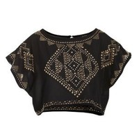 Club L Black Embellished Crop Top
