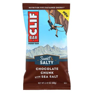 Clif Bar - Sweet And Salty Energy Bar - Chocolate Chunk With Sea Salt - Case Of 12 - 2.4 Oz.