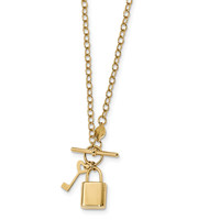 14k Polished Lock and Key 16in Toggle Necklace SF2528