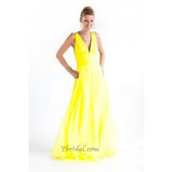 A-Line V-Neck Floor-Length Chiffon Prom Dress SAL0948