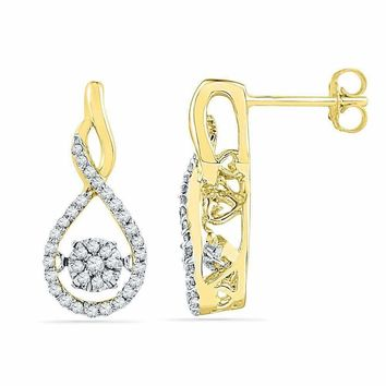 10kt Yellow Gold Women's Round Diamond Moving Cluster Earrings 1-3 Cttw - FREE Shipping (US/CAN)