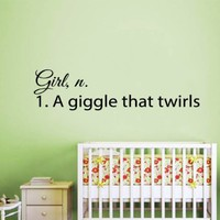 Wall Decals Vinyl Decal Sticker Home Art Design Quote Girl Noun a Giggle That Twirls Children Kids Nursery Baby Room Bedding Decor