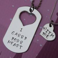 Custom Hand Stamped Matching Necklaces Set - I Carry Your Heart - With Me - Jewelry - His and Hers