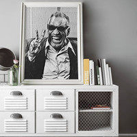 Ray Charles Poster Art Painting Print Canvas Print Music Poster Canvas Poster Celebrity Poster Design Wall Art Home Gift Jazz Soul Poster
