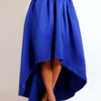 Blue High-Waist Midi Skirt