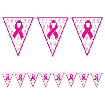 Breast Cancer Awareness Pink Ribbon Pennant Banner - 24 Units