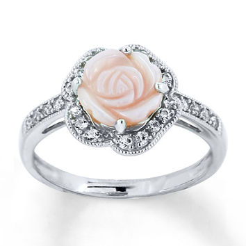 Mother-of-Pearl Rose Ring Lab-Created Sapphires Sterling Silver