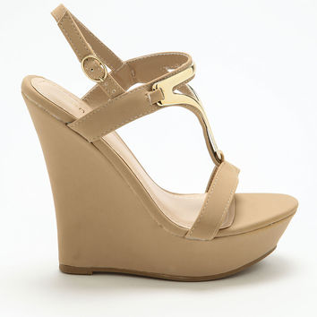 Nude Triangle Strap Wedges