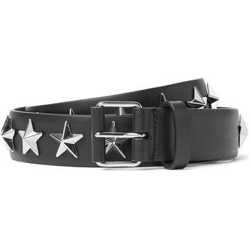 Givenchy - 3cm Black Star-Studded Leather Belt