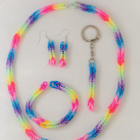 Colourful loom band jewellery set with necklace, bracelet, earrings and a keyring. Fishtail braid.