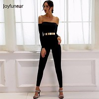 Joyfunear Sexy Off Shoulder Jumpsuits Women Long Sleeve stretchy solid Rompers Jumpsuit Female Elastic women Overalls