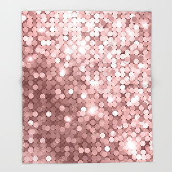Rose gold glitter Throw Blanket by printapix