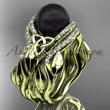 Leaf Diamond Black Pearl engagement and wedding ring set 14kt Yellow Gold Celtic Trinity Knot Wedding Set CTBP7326S