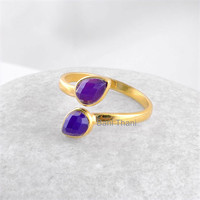 Gemstone Ring, Silver Ring, Christmas Gift, Amethyst Chalcedony Pear 5x7mm Micron Gold Plated 925 Sterling Silver Bezel Ring Jewelry #1173