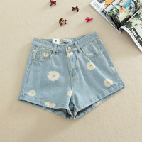 Light Blue Denim Daisy Shorts