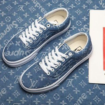 shosouvenir ¡êoVans & Supreme & Louis Vuitton OLD Skool Denim Low-top Sneaker