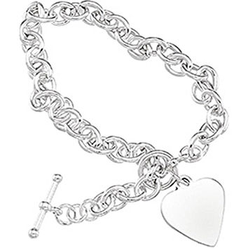Sterling Silver Cable Heart Toggle Bracelet- 8 Inches