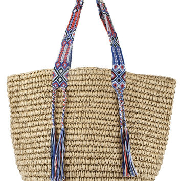 Boho Beach Bags - Fallon + Royce Natural/Coral