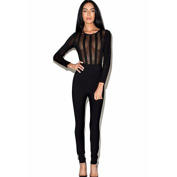 Kasia bandage Mesh jumpsuit in black