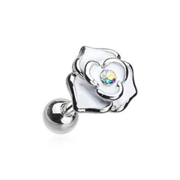 White Rose Sparkle Cartilage Helix Tragus Earring 18ga Surgical Steel Body Jewelry