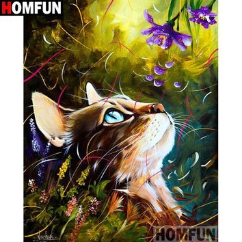 5D Diamond Painting Abstract Cat and Purple Flower Kit