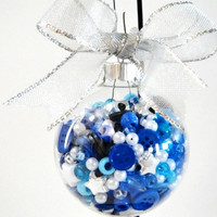 Tree Ornament Christmas Blue Buttons Beads Pearls White Silver Glass Filled