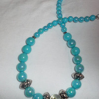 Handmade bead jewelry - Blue beaded Necklace - Turquoise beaded Necklace - Chunky Necklace - Graduating Necklace - Big Bead Necklace