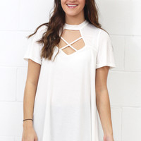 Choker Neck Criss Cross Cut Out Top {Off White}