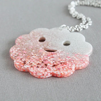 Cloud Monster Necklace  Bubblegum Glitter by MiniASD on Etsy