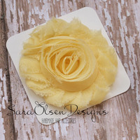 Rosette Hair Clip, Light Yellow Rosette, Frayed Chiffon Hairclip, Children's Hair Accessories, Toddler Hairclip, Girls Bow, Flower Hairclip