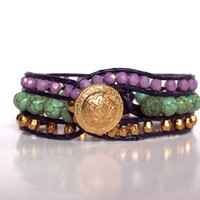Boho Chan Luu Leather Cuff 3 Rows Turquoise Purple Gold Bracelet - Alex